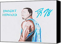 Sports Drawings Canvas Prints - Dwight Howard Canvas Print by Toni Jaso