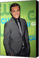 Gray Suit Canvas Prints - Ed Westwick At Arrivals For The Cw Canvas Print by Everett