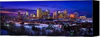 Alberta Landscape Canvas Prints - Edmonton Winter Skyline Canvas Print by Corey Hochachka