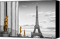 Puddle Canvas Prints - Eiffel Tower PARIS Trocadero Canvas Print by Melanie Viola