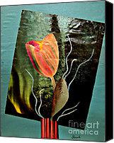 Avant Garde Mixed Media Canvas Prints - Electric Tulip Canvas Print by Sarah Loft