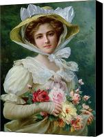Arrangement Painting Canvas Prints - Elegant lady with a bouquet of roses Canvas Print by Emile Vernon