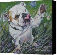 Spring Painting Canvas Prints - English Bulldog Canvas Print by Lee Ann Shepard