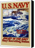Us Navy Canvas Prints - Enlist In The Navy Canvas Print by War Is Hell Store