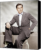 Gray Suit Canvas Prints - Errol Flynn, Ca. 1930s Canvas Print by Everett