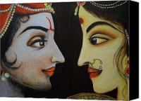 Diety Canvas Prints - Eternal Lovers - Radha Krishna Canvas Print by Rashmi Rao