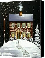Evergreens Canvas Prints - Evergreen Cottage Canvas Print by Catherine Holman