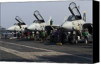 Operation Iraqi Freedom Canvas Prints - F-14d Tomcats On The Flight Deck Of Uss Canvas Print by Gert Kromhout