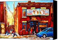 Hockey In Montreal Painting Canvas Prints - Fairmount Bagel in Winter Canvas Print by Carole Spandau