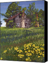 Egg Tempera Canvas Prints - Fairplay Farmhouse Canvas Print by Peter Muzyka