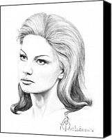 Famous Drawings Canvas Prints - Faith Hill Canvas Print by Murphy Elliott
