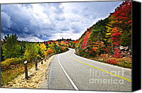 Natural Storm Canvas Prints - Fall highway Canvas Print by Elena Elisseeva