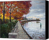 Cloudy Painting Canvas Prints - Fall in Port Credit ON Canvas Print by Ylli Haruni