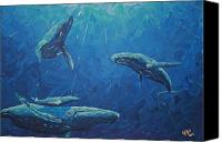 Whale Painting Canvas Prints - Family Canvas Print by Nick Flavin
