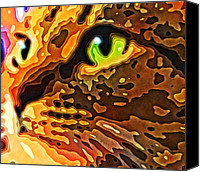 Animals Canvas Prints - Feline Face Abstract Canvas Print by David G Paul