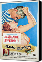 1955 Movies Canvas Prints - Female On The Beach, Jeff Chandler Canvas Print by Everett