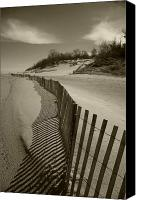 Indiana Dunes Canvas Prints - Fence Line Canvas Print by Timothy Johnson