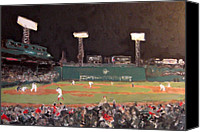 Fenway Park Painting Canvas Prints - Fenway Night Canvas Print by Romina Diaz-Brarda