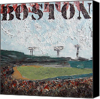Fenway Park Painting Canvas Prints - Fenway Canvas Print by Romina Diaz-Brarda