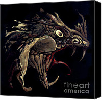 Black Glass Art Canvas Prints - Fire Dragon Canvas Print by Liz Molnar