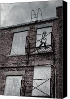 Artist Framed Prints Canvas Prints - Fire Escape  Canvas Print by Jerry Cordeiro