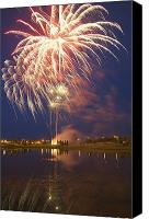 Pyrotechnics Canvas Prints - Fireworks Display On Canada Day Canvas Print by Carson Ganci