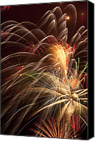 Works Canvas Prints - Fireworks in night sky Canvas Print by Garry Gay