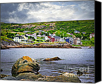 House Canvas Prints - Fishing village in Newfoundland Canvas Print by Elena Elisseeva