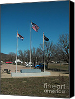 Flag Pole Canvas Prints - Flags with Blue Sky Canvas Print by Kip DeVore