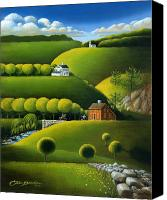 House Painting Canvas Prints - Foothills of the Berkshires Canvas Print by John Deecken