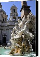 Neptune Canvas Prints - Fountain. Piazza Navona. Rome Canvas Print by Bernard Jaubert