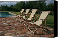 Bathe Canvas Prints - Four Deck Chairs Await Visitors Canvas Print by Heather Perry