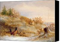 Moor Canvas Prints - Fox and Pheasants in Winter Canvas Print by Anonymous