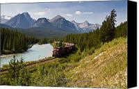 Land Feature Canvas Prints - Freight Train Traveling On Morants Canvas Print by Zoltan Kenwell