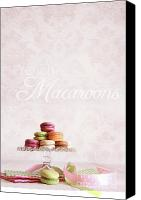 Cake-stand Canvas Prints - French macaroons on dessert tray Canvas Print by Sandra Cunningham