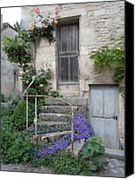 Blue Flowers Canvas Prints - French Staircase With Flowers Canvas Print by Marilyn Dunlap