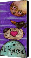 Crow Painting Canvas Prints - Friends Canvas Print by  Abril Andrade Griffith