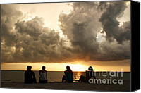 Four Women Canvas Prints - Friends watching sunset Canvas Print by Matt Tilghman