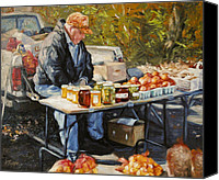 Vendor Painting Canvas Prints - Fruit Vendor Canvas Print by Katherine Tucker
