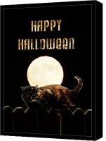 Gx9 Canvas Prints - Full Moon Cat Canvas Print by Gravityx Designs