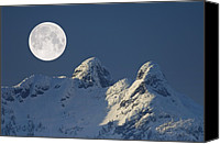 Snowy Night Canvas Prints - Full Moon Over The Lions, Canada Canvas Print by David Nunuk
