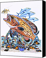 Guy Harvey Canvas Prints - Gag Grouper Canvas Print by Carey Chen