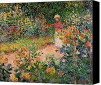Monet Painting Canvas Prints - Garden at Giverny Canvas Print by Claude Monet