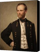 Civil War Painting Canvas Prints - General William Tecumseh Sherman Canvas Print by War Is Hell Store
