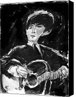 Guitarist George Harrison Canvas Prints - George Canvas Print by Russell Pierce