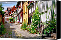 Old Buildings Canvas Prints - German old village Quedlinburg Canvas Print by Heiko Koehrer-Wagner