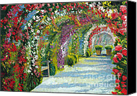 Garden Painting Canvas Prints - Germany Baden-Baden Rosengarten Canvas Print by Yuriy  Shevchuk