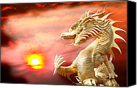 2012 Digital Art Canvas Prints - Giant golden Chinese dragon Canvas Print by Anek Suwannaphoom
