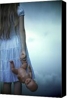 Barefoot Canvas Prints - Girl With Baby Doll Canvas Print by Joana Kruse