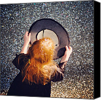Street Canvas Prints - Girl with empty hat waiting for donation Canvas Print by Matthias Hauser